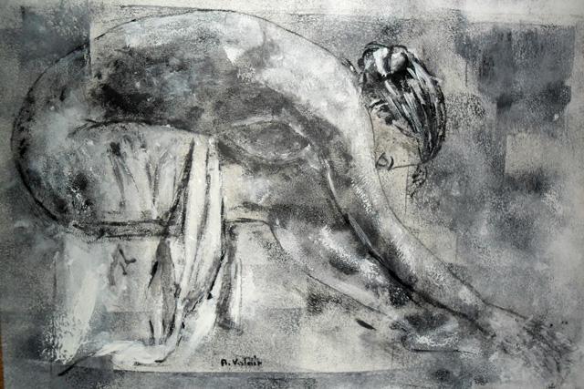 Femme a sa toilette 45x35 Acrylique